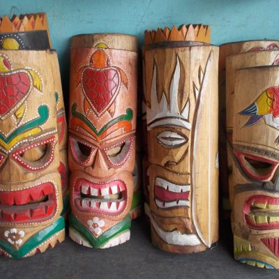 Handmade Albesia Wood Tiki Mask - PLTK-1416 - Wholesale from Bali