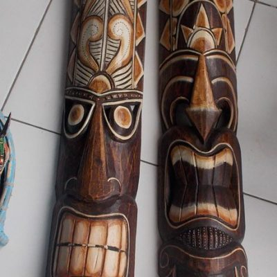 Handmade Albesia Wood Tiki Mask - PLTK-1425 - Wholesale from Bali