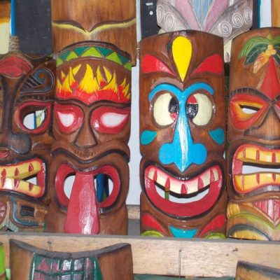Handmade Albesia Wood Tiki Mask - PLTK-1443 - Wholesale from Bali