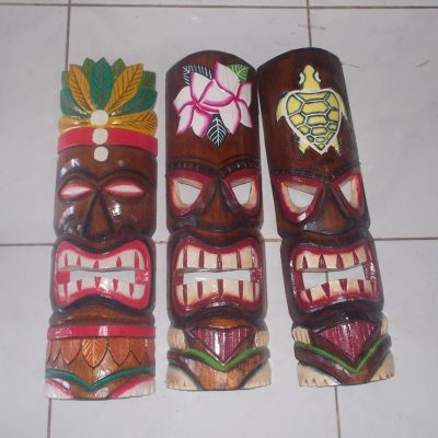 Handmade Albesia Wood Tiki Mask - PLTK-1446 - Wholesale from Bali