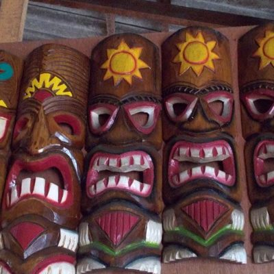 Handmade Albesia Wood Tiki Mask - PLTK-1508 - Wholesale from Bali