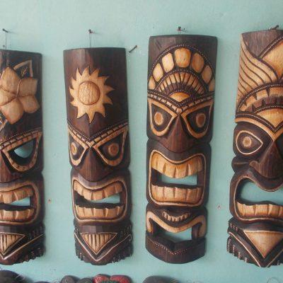 Handmade Albesia Wood Tiki Mask - PLTK-1561 - Wholesale from Bali