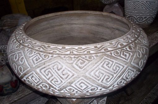 Carved Suar Bowl With Wash Finish - BOWL-2961