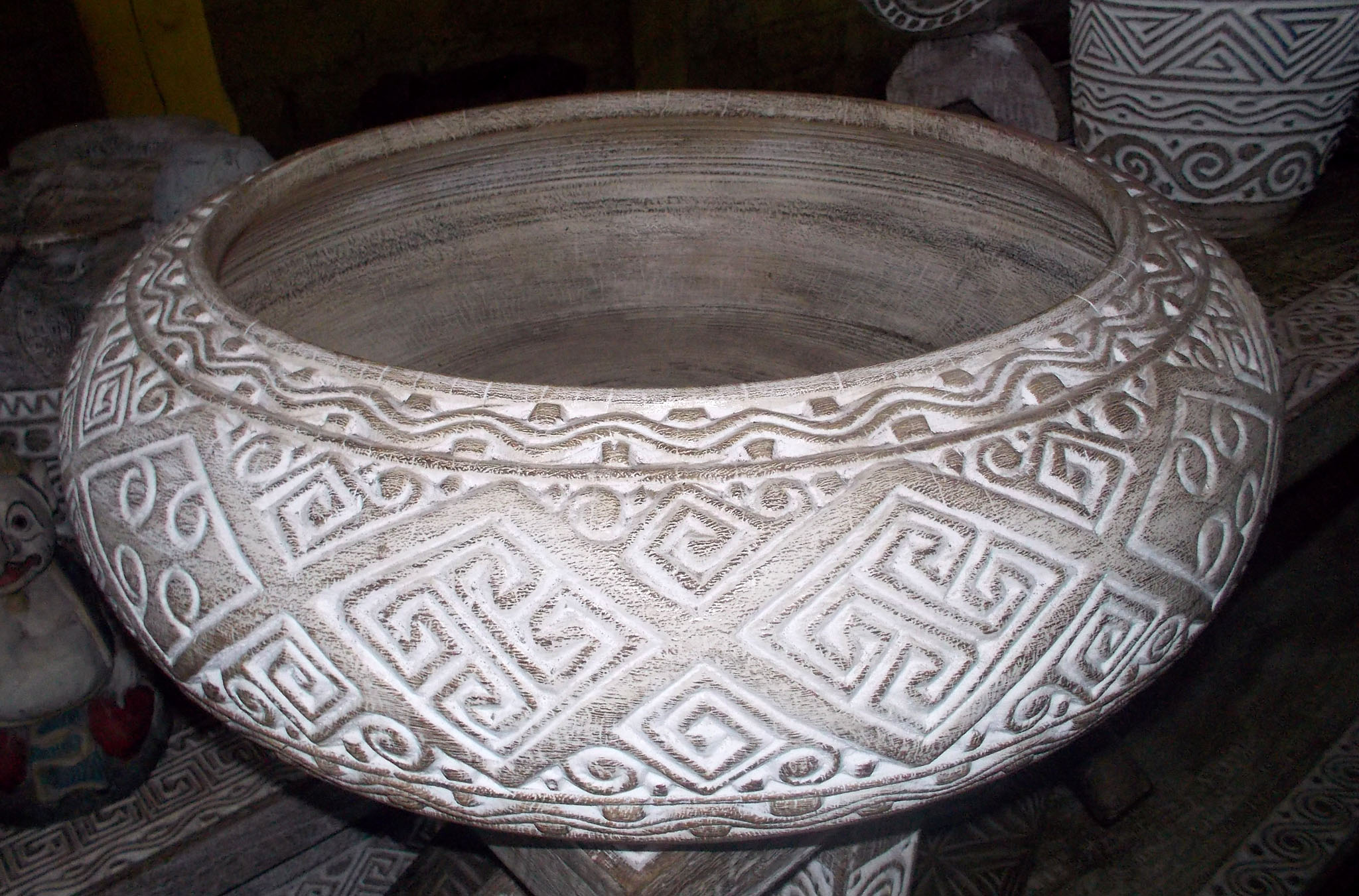 Carved Suar Bowl With Wash Finish – BOWL-2961 1