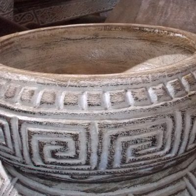 Carved Suar Bowl With Wash Finish - BOWL-2962