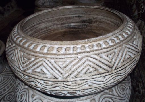 Carved Suar Bowl With Wash Finish - BOWL-2963