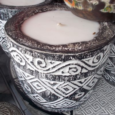 Suar Wood Carved Candle - CANDLE-2938
