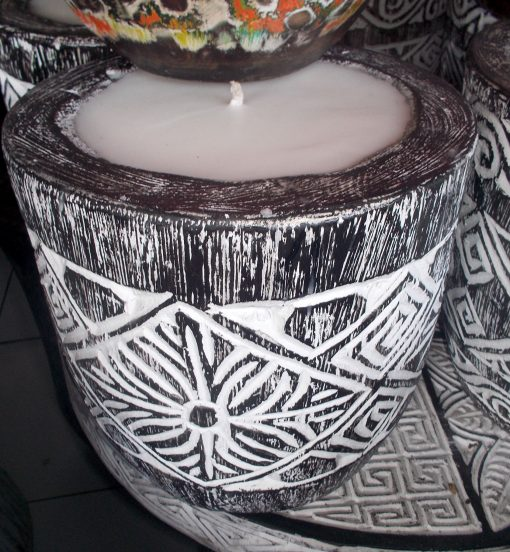 Suar Wood Carved Candle - CANDLE-2939