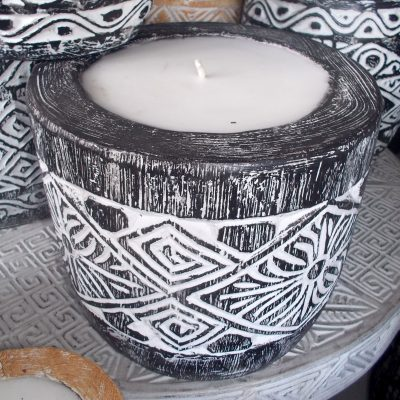 Suar Wood Carved Candle - CANDLE-2940