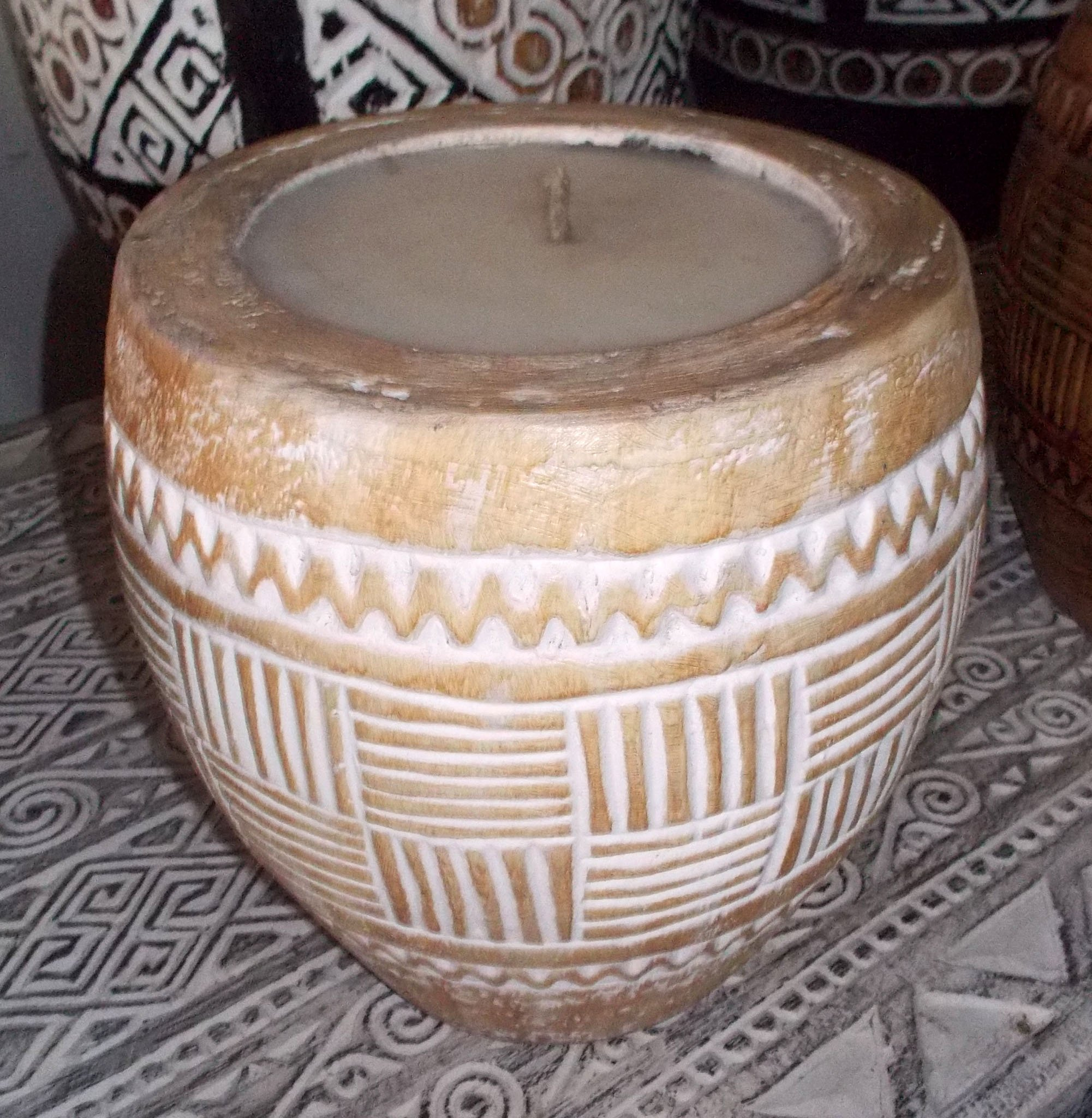 Suar Wood Carved Candle – CANDLE-2943 1