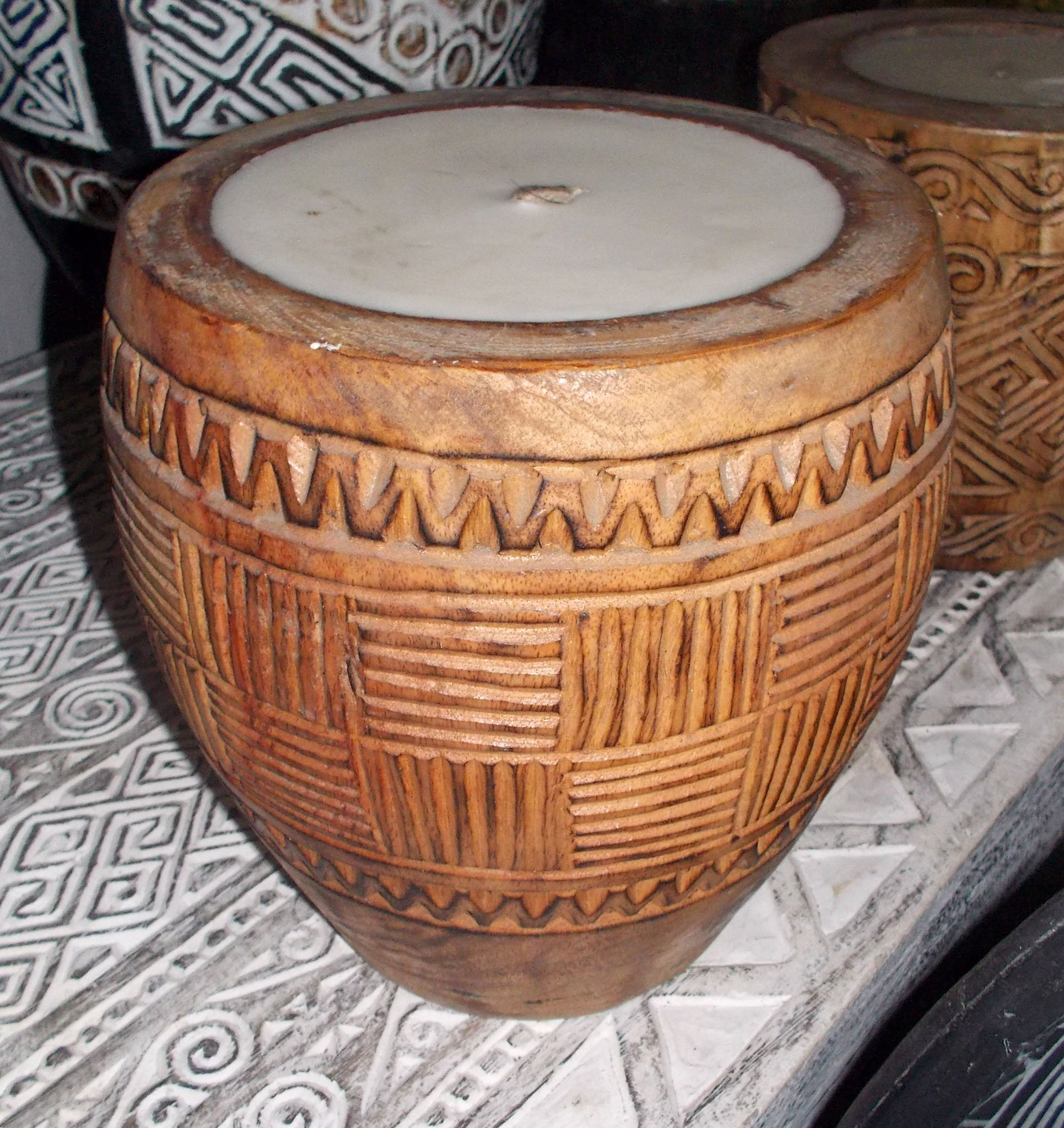 Suar Wood Carved Candle – CANDLE-2944 1