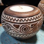 Carved Suar Wood Candle - CANDLE-3537