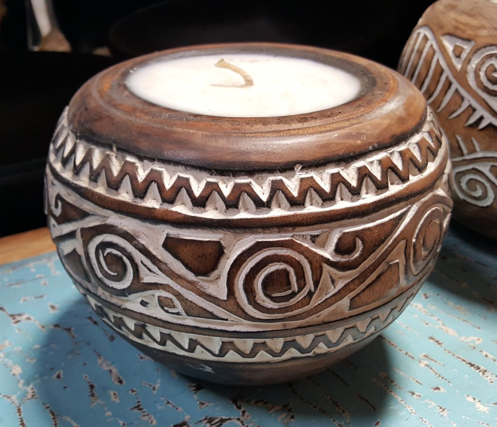 Carved Suar Wood Candle – CANDLE-3537 1