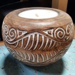 Carved Suar Wood Candle - CANDLE-3541