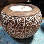 Carved Suar Wood Candle - CANDLE-3554