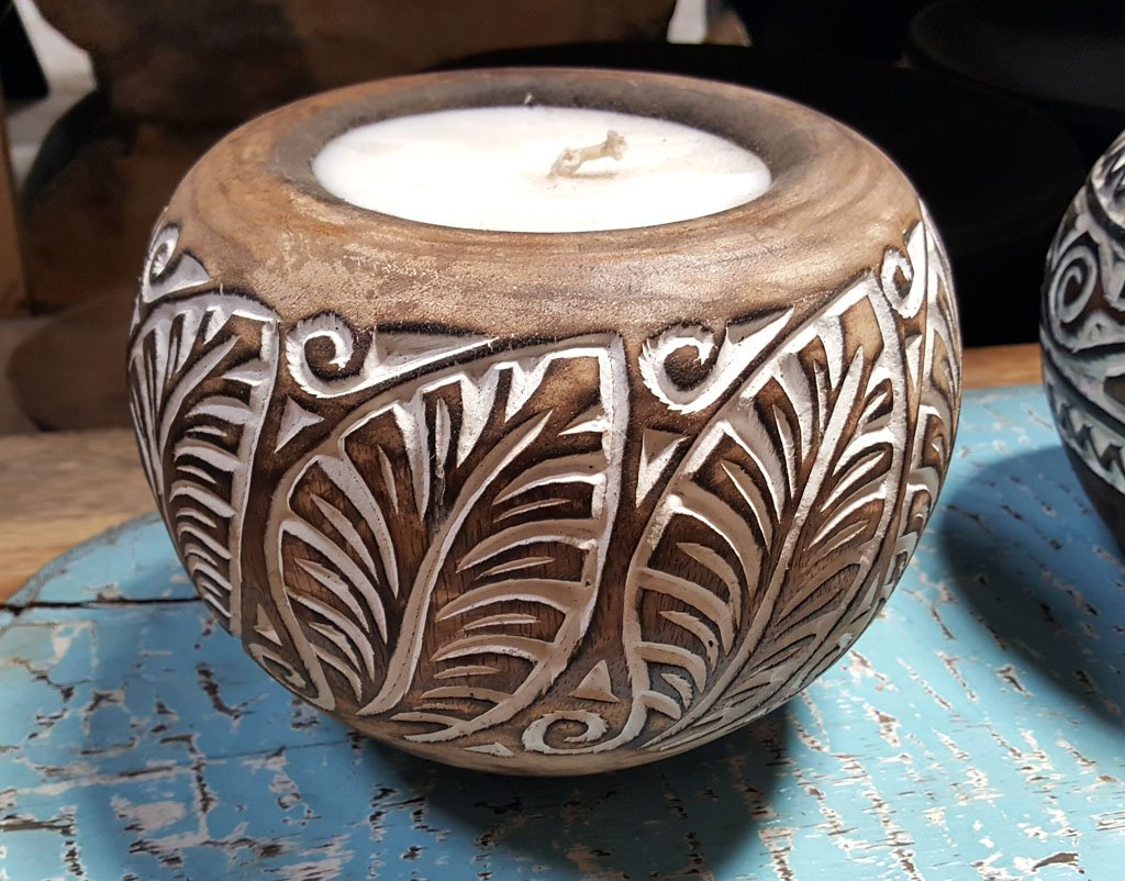 Carved Suar Wood Candle – CANDLE-3554 1