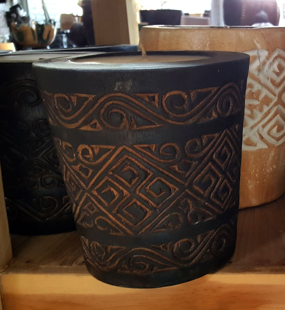 Carved Suar Wood Candle – CANDLE-3606 1