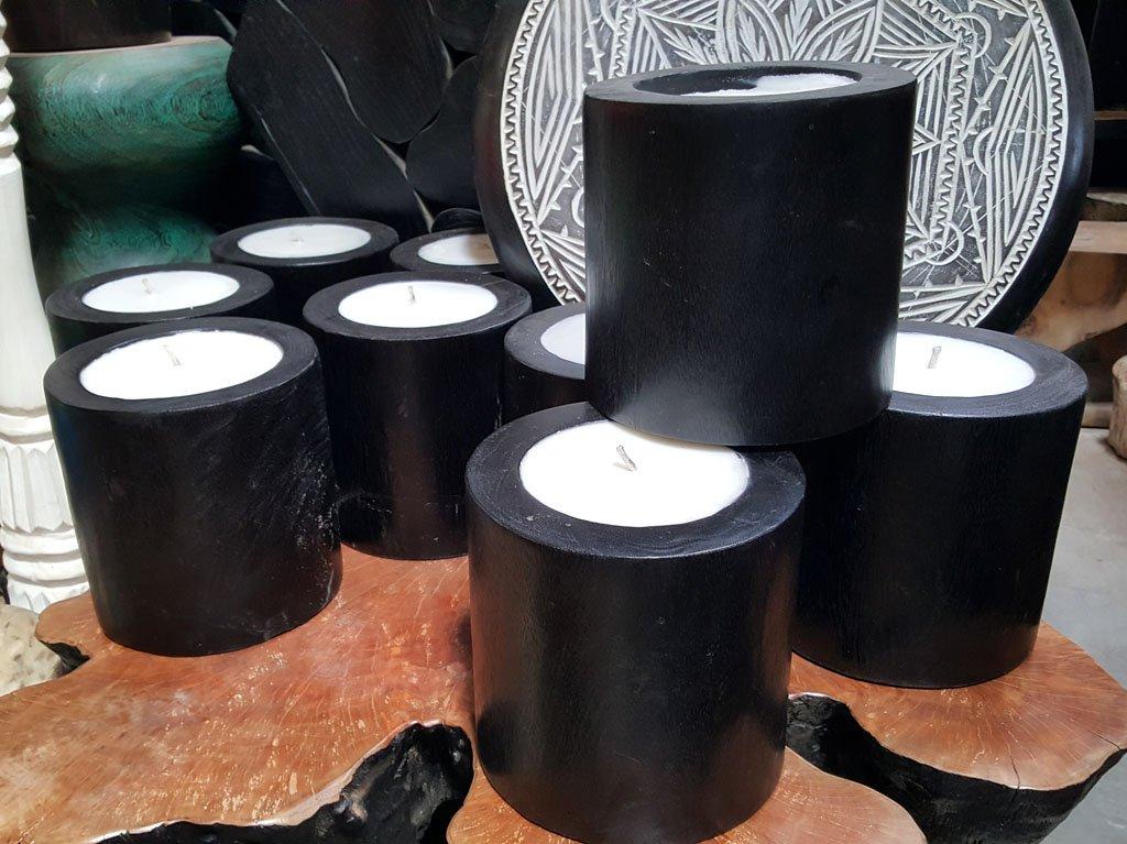 Painted Black Suar Wood Candle – CANDLE-3613 1