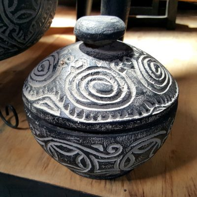 Carved Suar Wood Candle With lid - CANDLE-3620