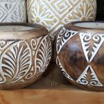 Carved Suar Wood Candle -- Mixed Designs - CANDLE-4034