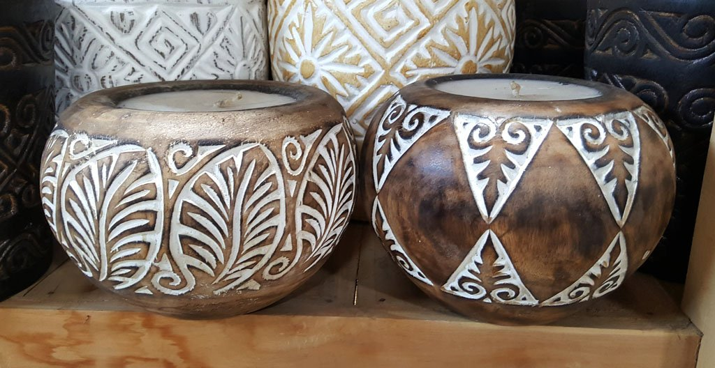 Carved Suar Wood Candle — Mixed Designs – CANDLE-4034 1