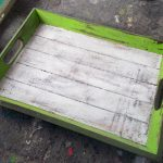 Painted Albesia Wood Tray - TRAY-2980A