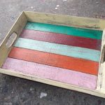 Painted Albesia Wood Tray - TRAY-2981A