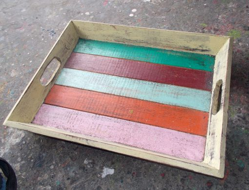 Painted Albesia Wood Tray - TRAY-2981C