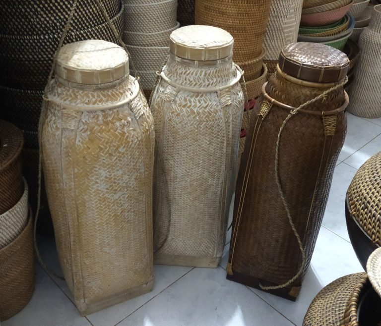 Selection of rattan baskets in stock